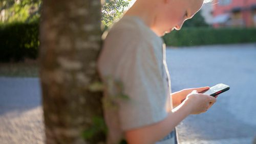Barn står lutad mot ett träd och tittar ner i en mobiltelefon.